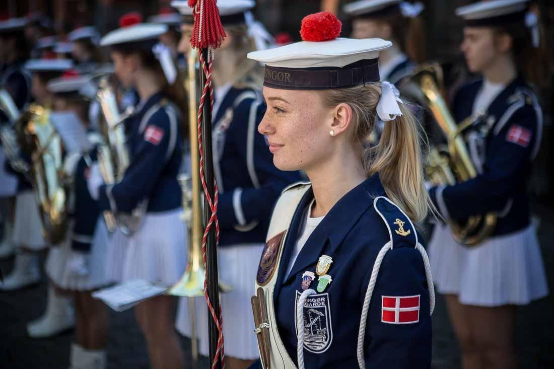 Helsingør Pigeegarde tambourmajor første fredagsmarch